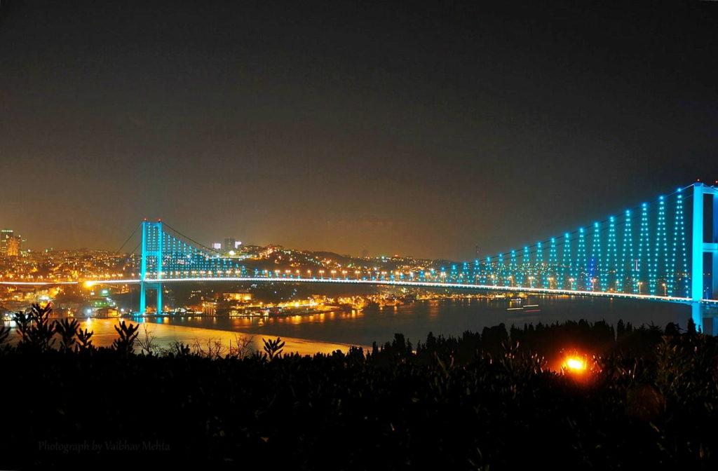 Bosphorus Bridge from the rooftop bar Istanbul, Turkey
