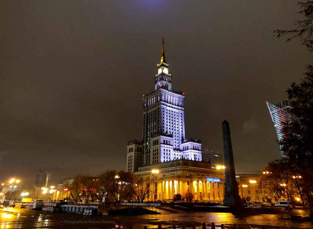 Palace of Culture and Science at Night Warsaw, Poland