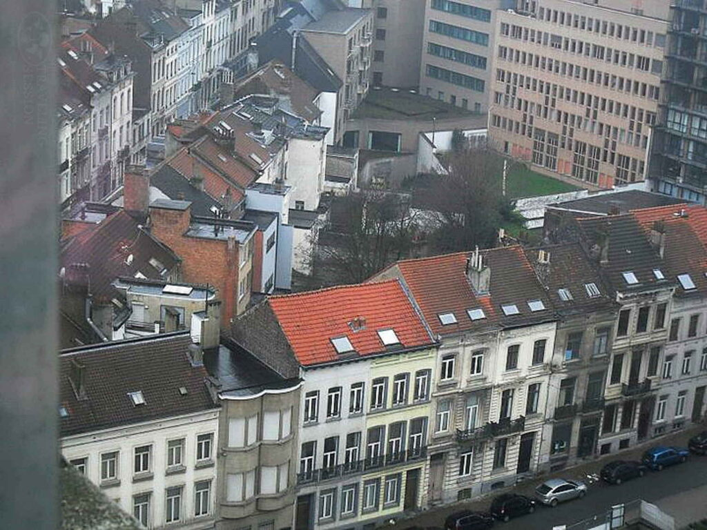 Looking Down on Brussels From the Hotel Window