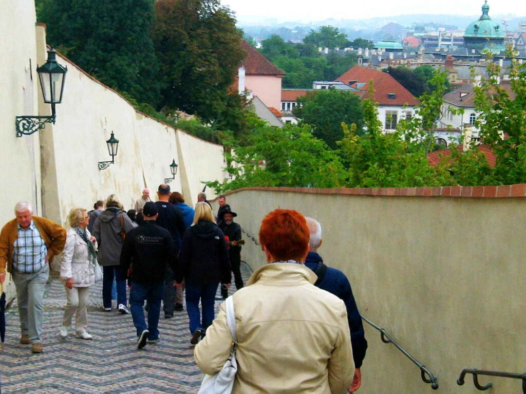 Prague Castle Stairs with a View of the City