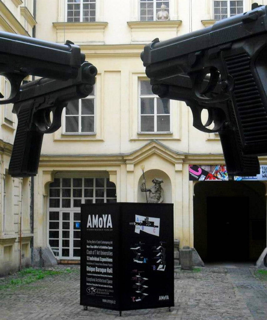 """Guns"" by David Cerny located in Prague"
